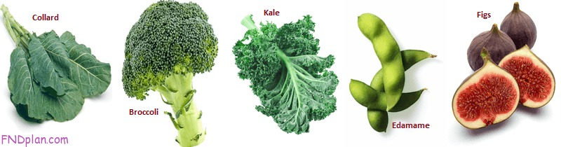 5 Food that is rich in calcium - Collard greens - Broccoli - Kale - Edamame - Figs